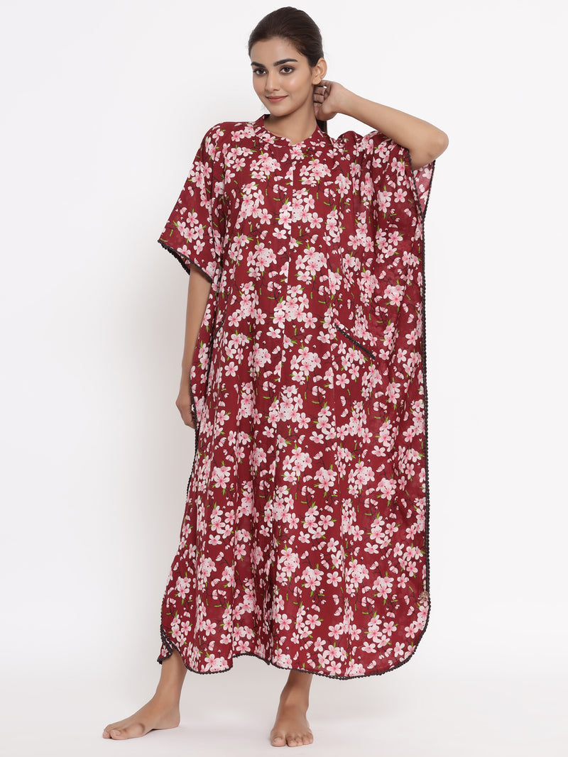 COTTON FRONT OPEN KAFTAN IN MAROON COLOUR