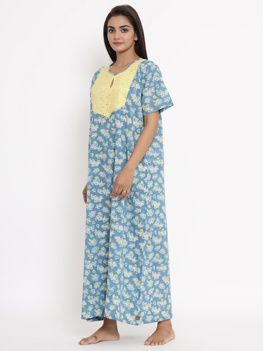 SKY BLUE HAND EMBROIDERED MIRROR WORK PURE COTTON NIGHTWEAR