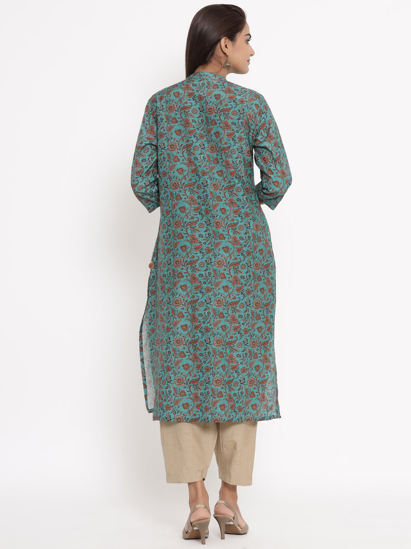 COTTON SILK STRAIGHT KURTA IN GREEN COLOUR