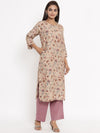 FLORAL PRINTED COTTON SILK STRAIGHT KURTA