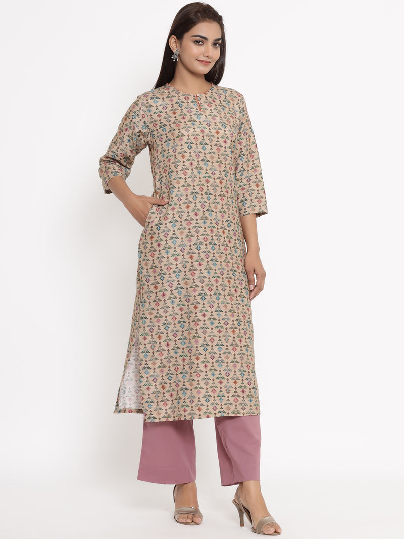 COTTON SILK STRAIGHT KURTA IN BEIDGE COLOUR