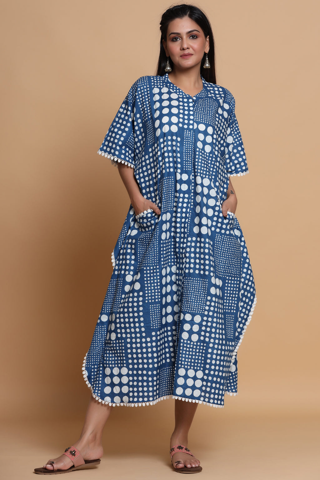 COTTON FRONT OPEN KAFTAN IN BLUE COLOUR