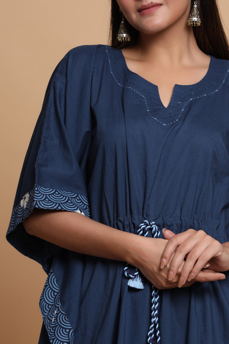 FRONT GATHERED KAFTAN IN NAVY BLUE COLOUR