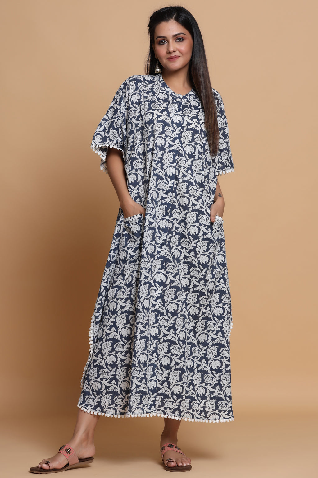 COTTON FRONT OPEN KAFTAN IN FLORAL BLUE COLOUR