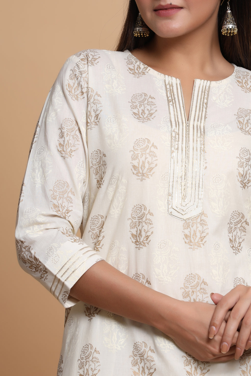 OFF WHITE COLOUR GOLD PRINTED COTTON KURTA
