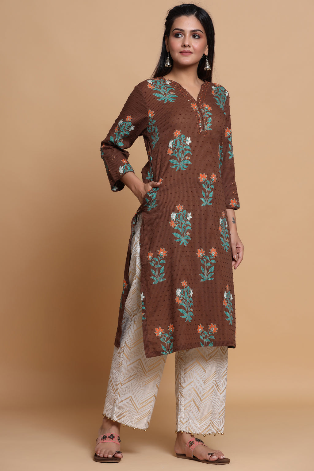 BROWN COLOUR COTTON KURTA