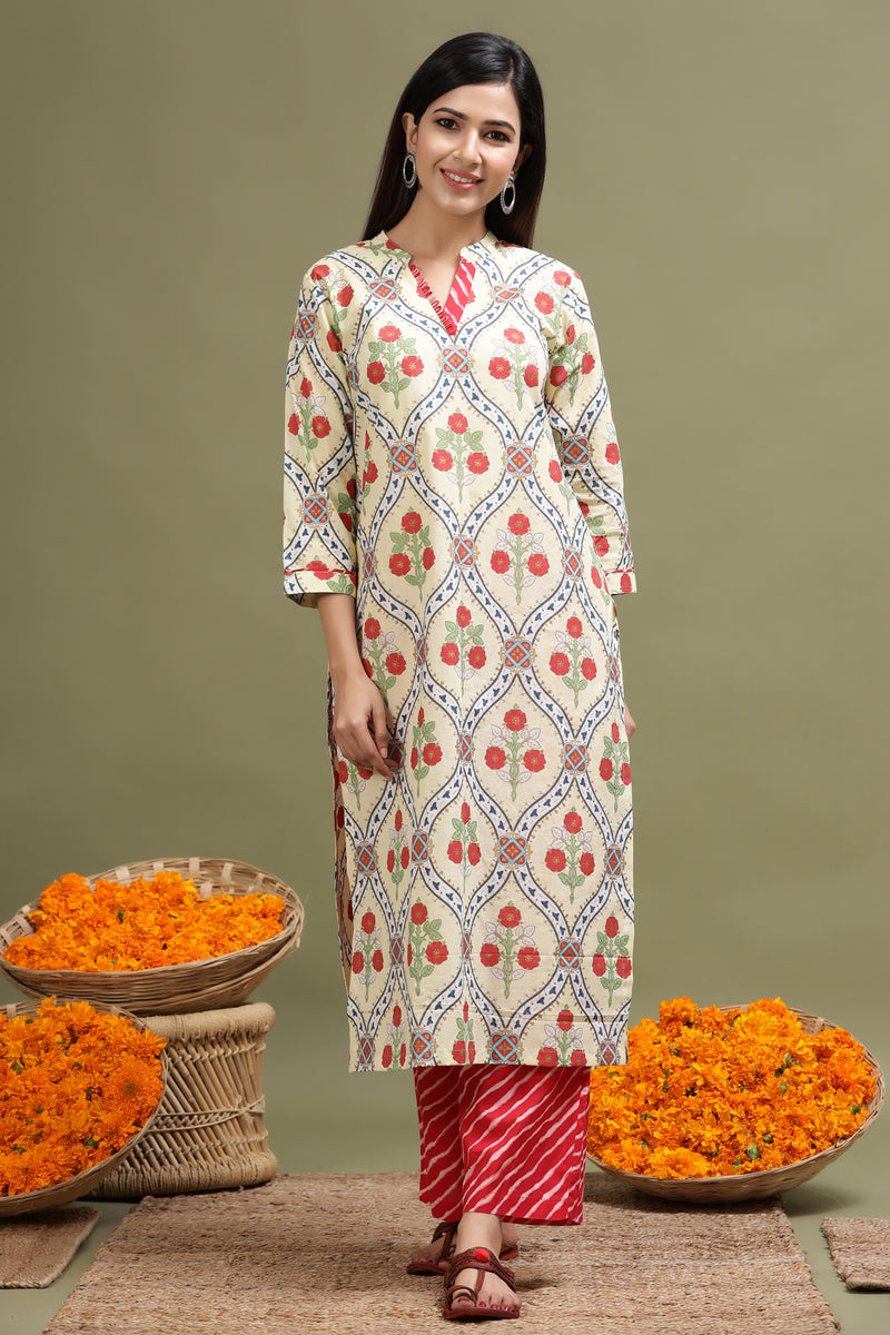 FLORAL PRINTED STRAIGHT KURTA IN YELLOW COLOUR