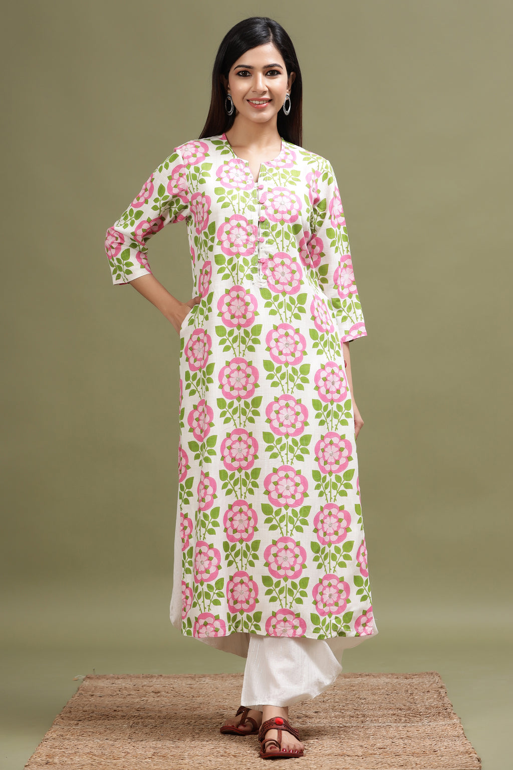 FLORAL PRINTED KURTA IN SOFT COTTON FABRIC