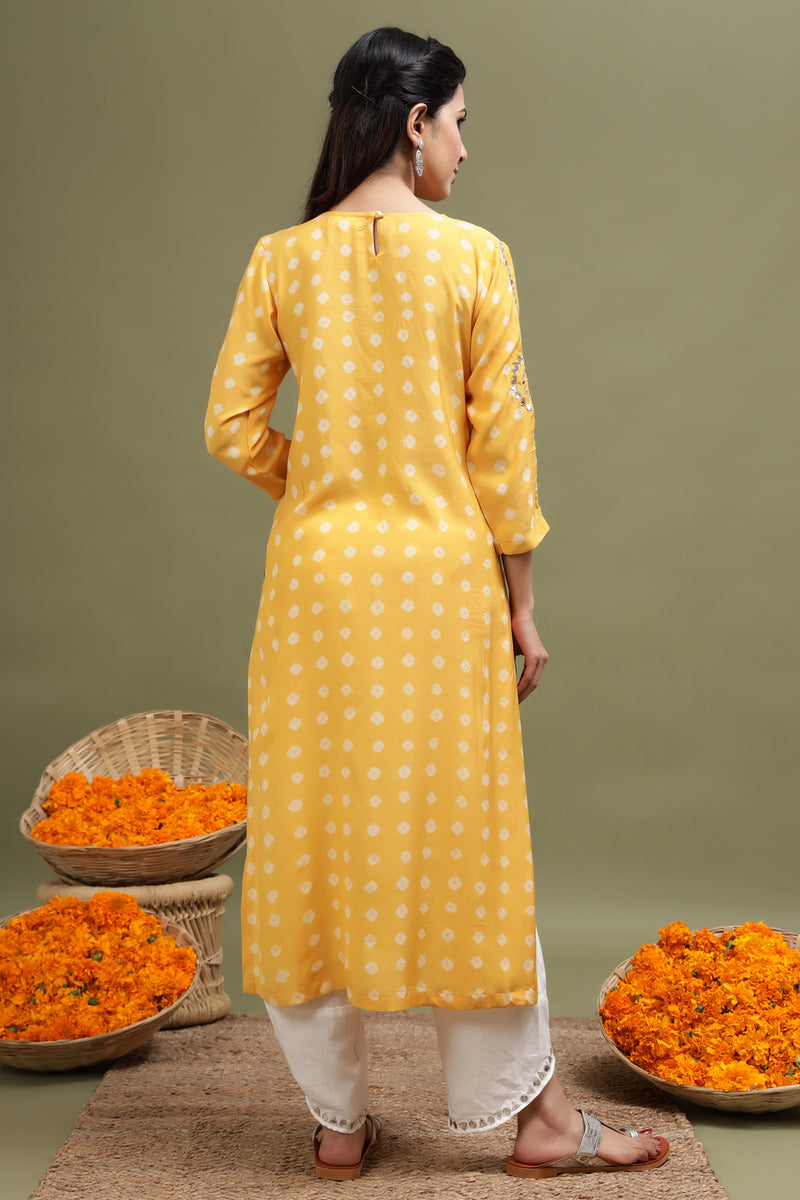 YELLOW BANDHANI KURTA WITH MIRROR DETAILING