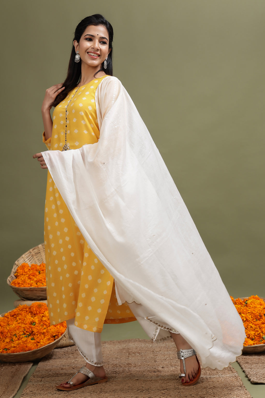 MODAL SILK MIRROR WORK DUPATTA IN WHITE COLOUR