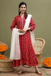 RED BANDHANI KURTA WITH MIRROR DETAILING
