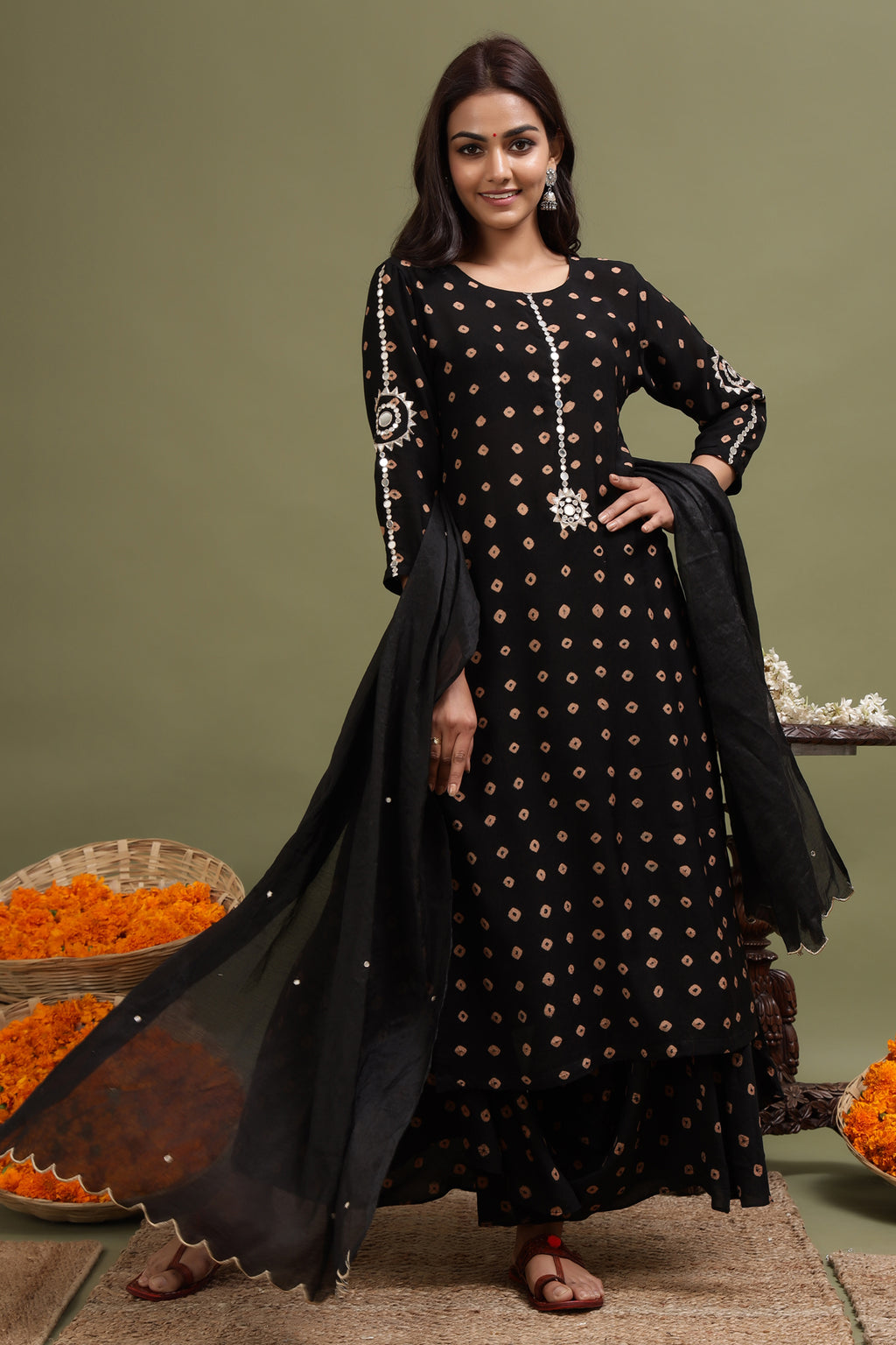 MODAL SILK MIRROR WORK DUPATTA IN BLACK COLOUR