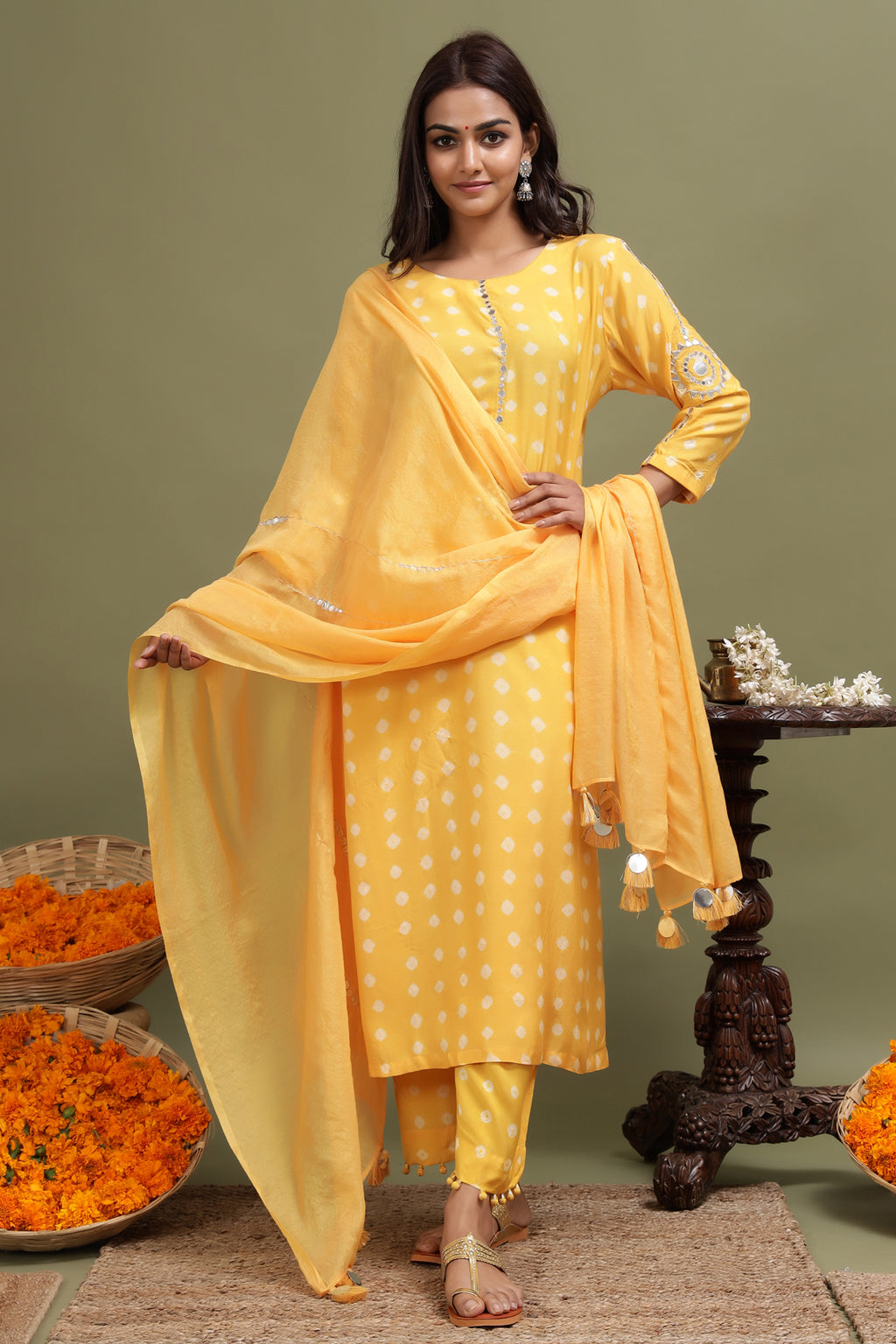 MODAL SILK MIRROR WORK DUPATTA IN YELLOW COLOUR