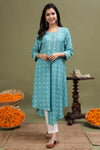 BANDHANI HIGH LOW TURQUOISE KURTA