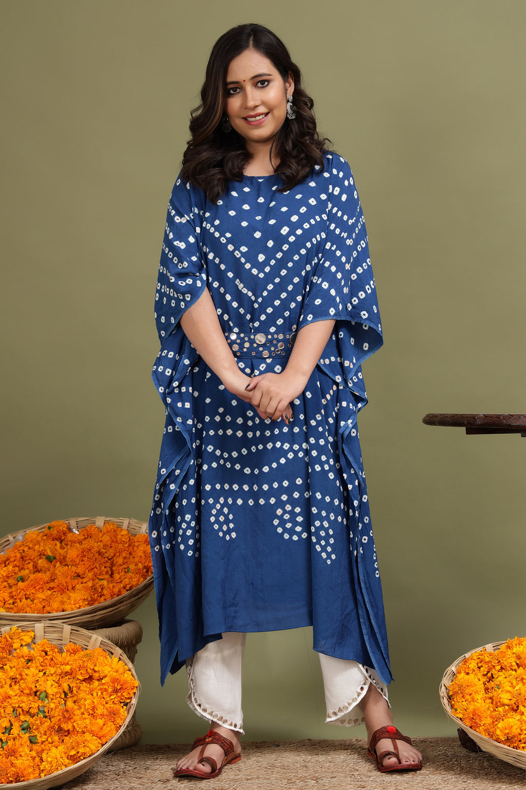 BANDHANI KAFTAN IN BLUE COLOUR WITH BELT