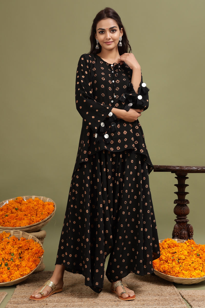 BANDHEJ DHOTI PANT IN BLACK COLOUR