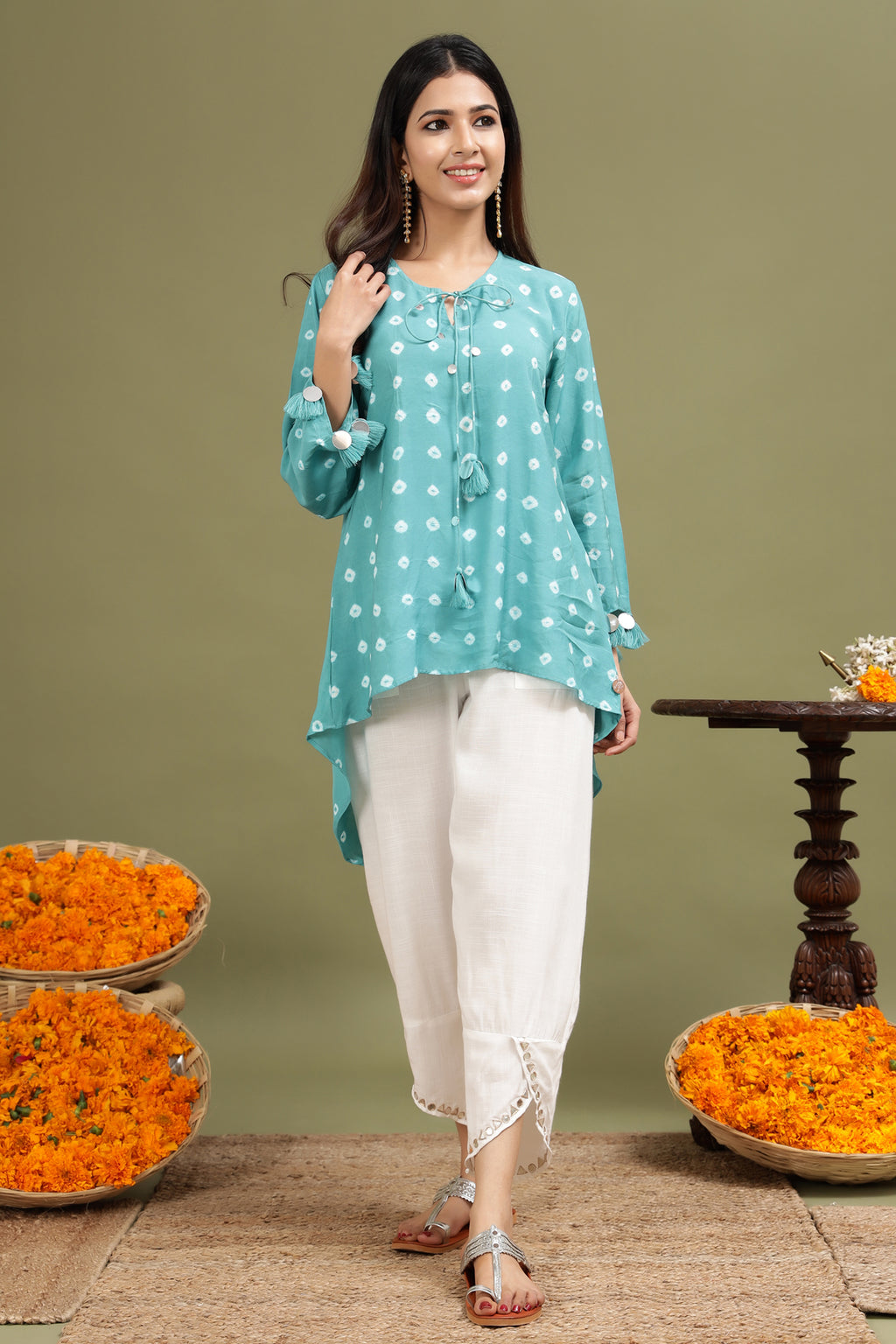 TURQUOISE BLUE BANDHANI TUNIC WITH MIRROR DETAILING