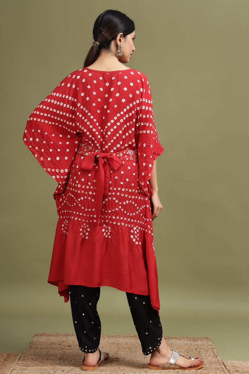 BANDHANI KAFTAN IN RED COLOUR WITH BELT