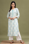 WHITE PRINTED COTTON KURTA