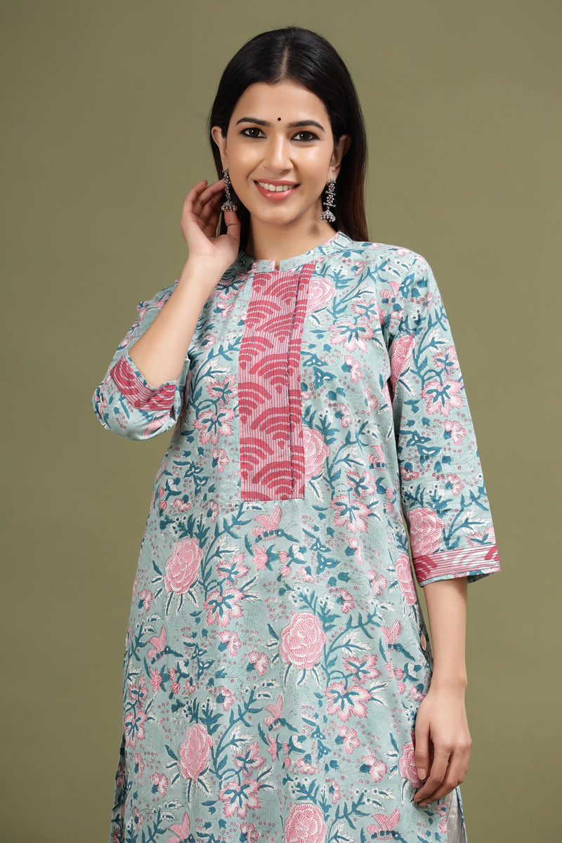 SKY BLUE COTTON KURTA WITH LEHARIYA DETAILING