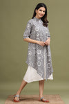 GREY COLOUR DOUBLE LAYERED COTTON DRESS