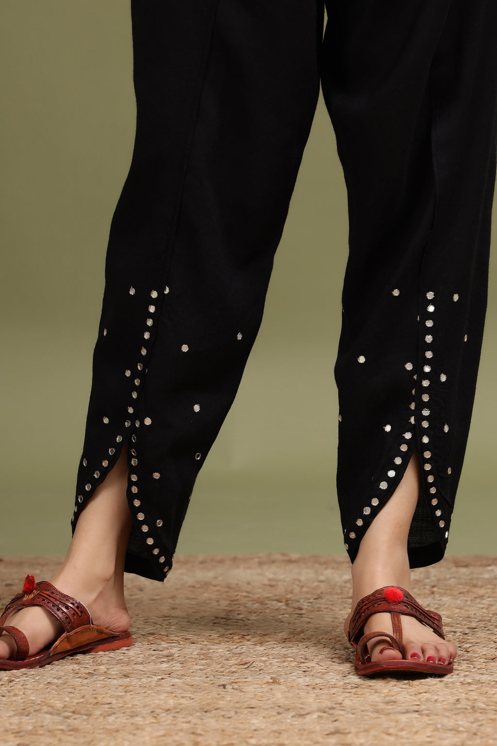 TULIP PANT WITH MIRROR DETAILING IN BLACK COLOUR