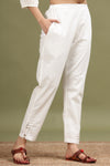 WHITE MIRROR WORK STRAIGHT PANT