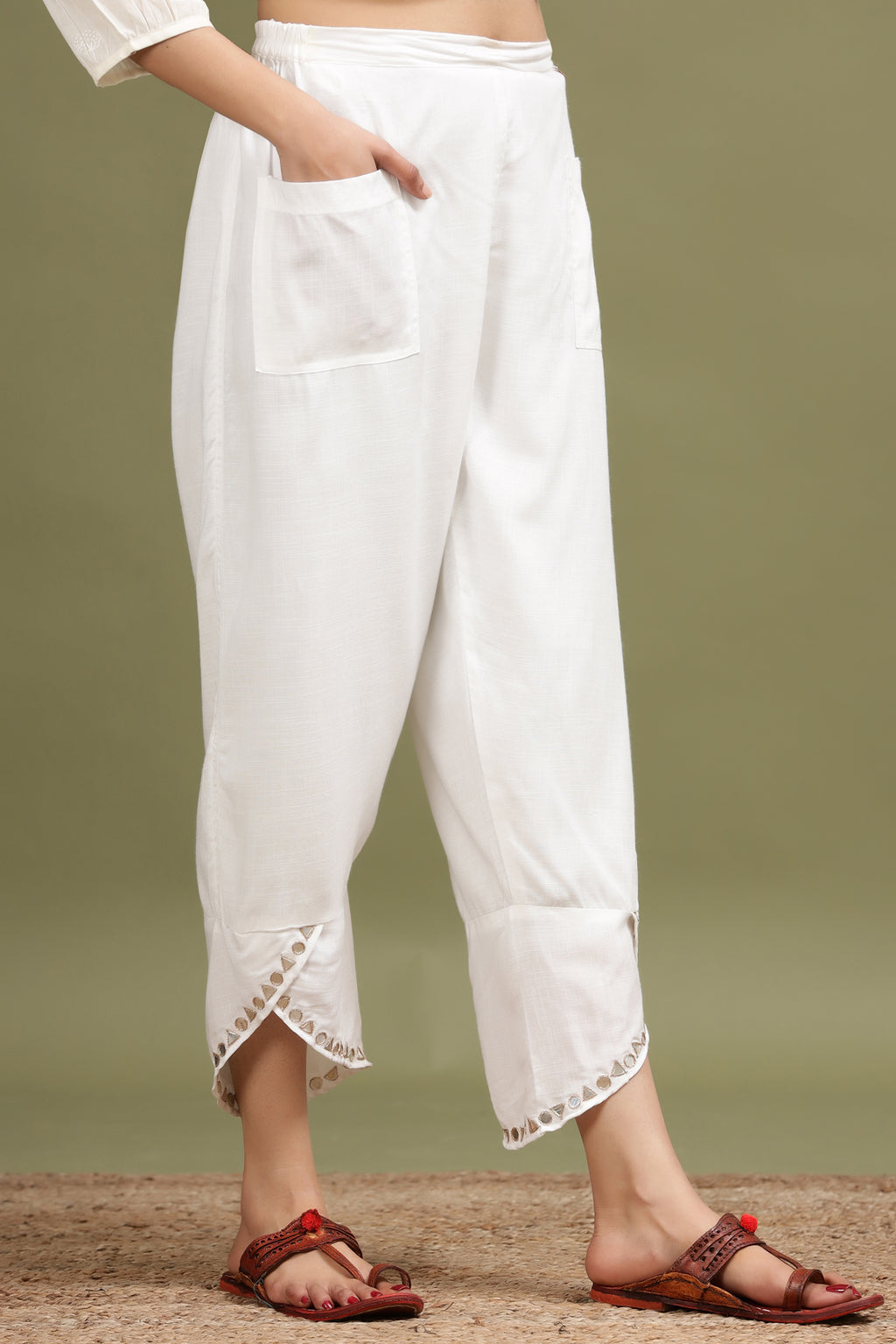 WHITE MIRROR WORK STRAIGHT TULIP PANT