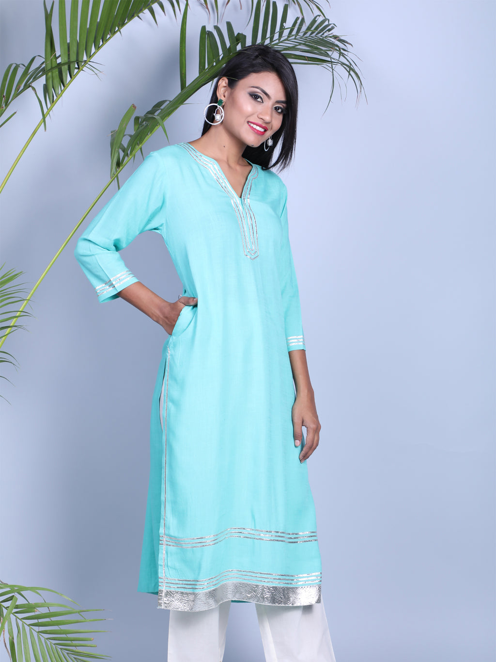 STRIAGHT KURTI WITH GOTTA DETALING