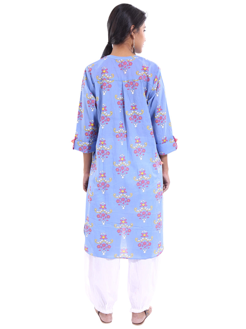 PRINTED TUNIC WITH HIGH-LOW HEM