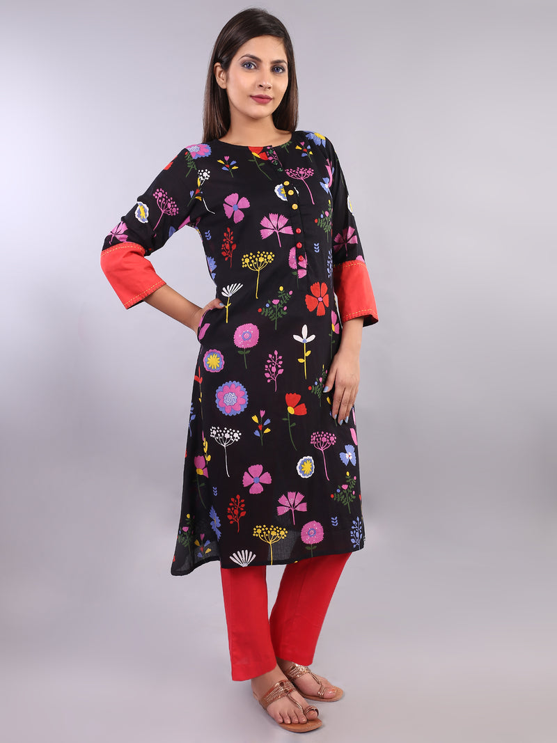 BLACK PRINTED STRAIGHT KURTI