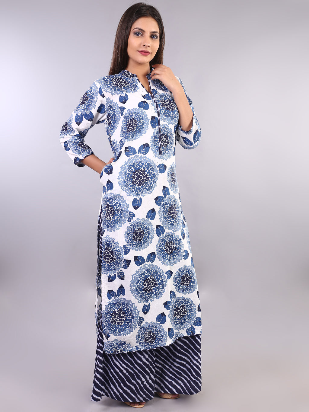 BLUE BLOOMING STRAIGHT KURTA