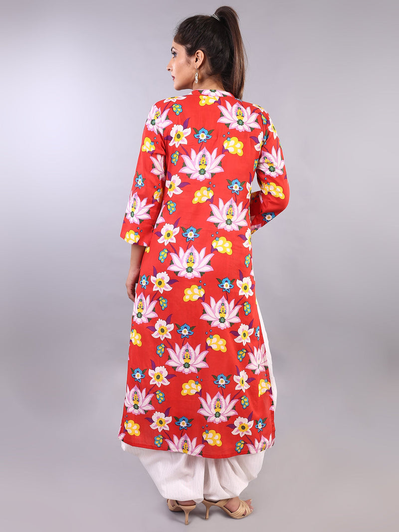 LOTUS PRINT STRAIGHT KURTA