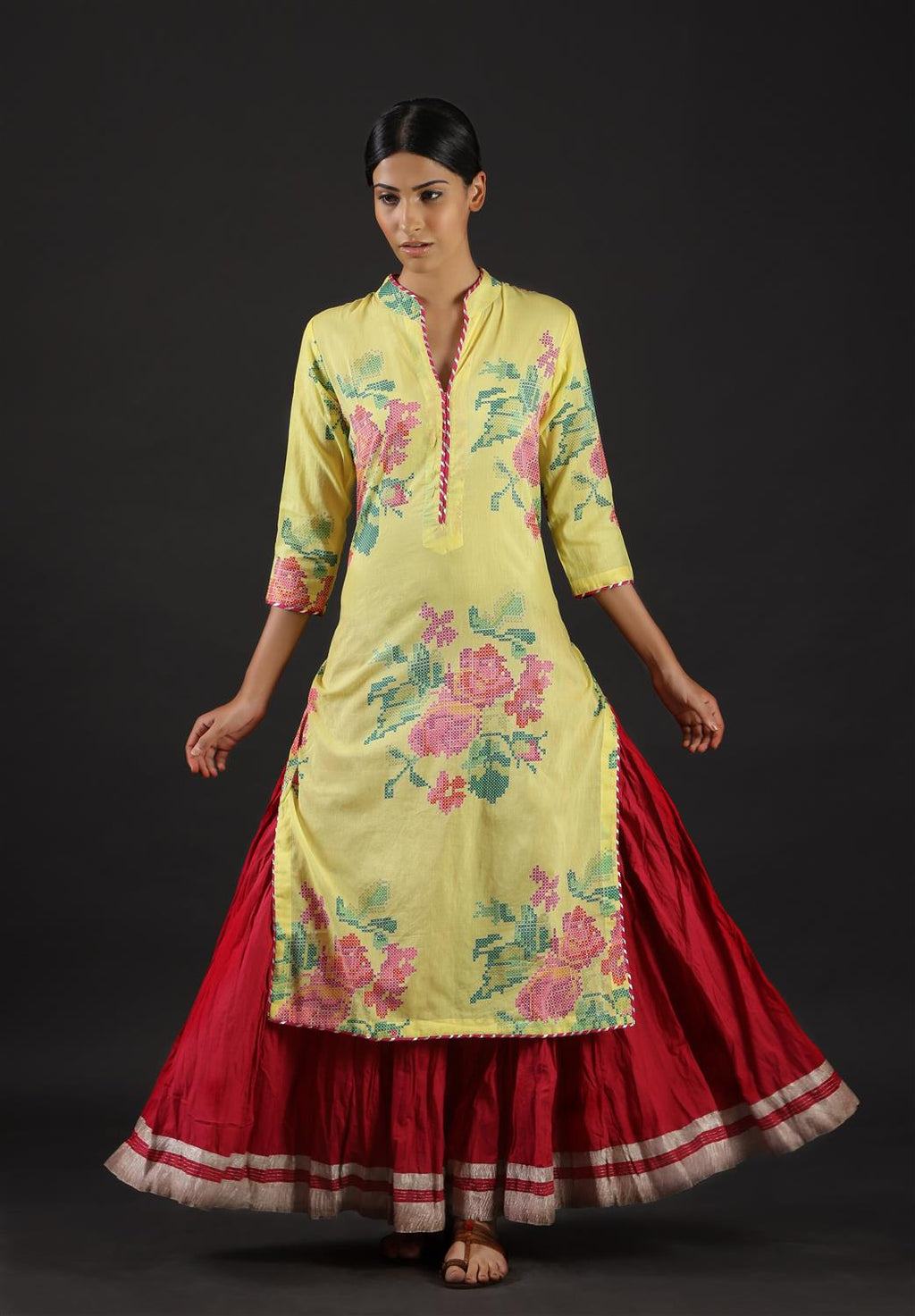 YELLOW COLOUR FLORAL PRINTED KURTA