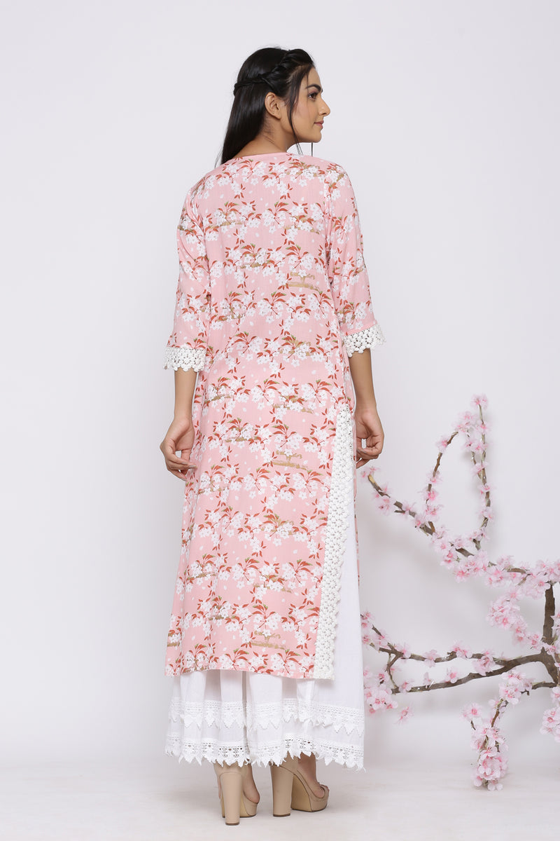BLUSH PINK FLORAL KURTA WITH LACE BORDER