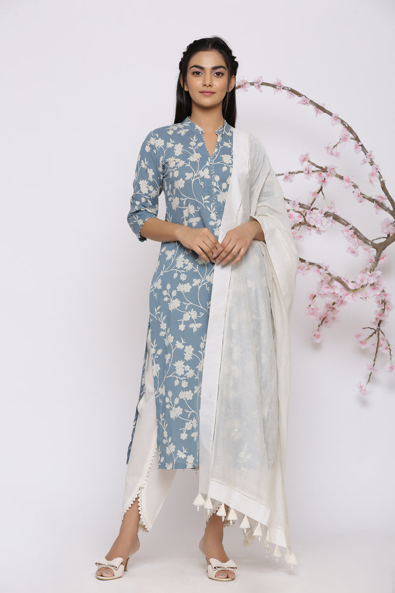TEAL BLUE KURTA WITH LACE TULIP PANT AND PEARL DETAILING DUPATTA