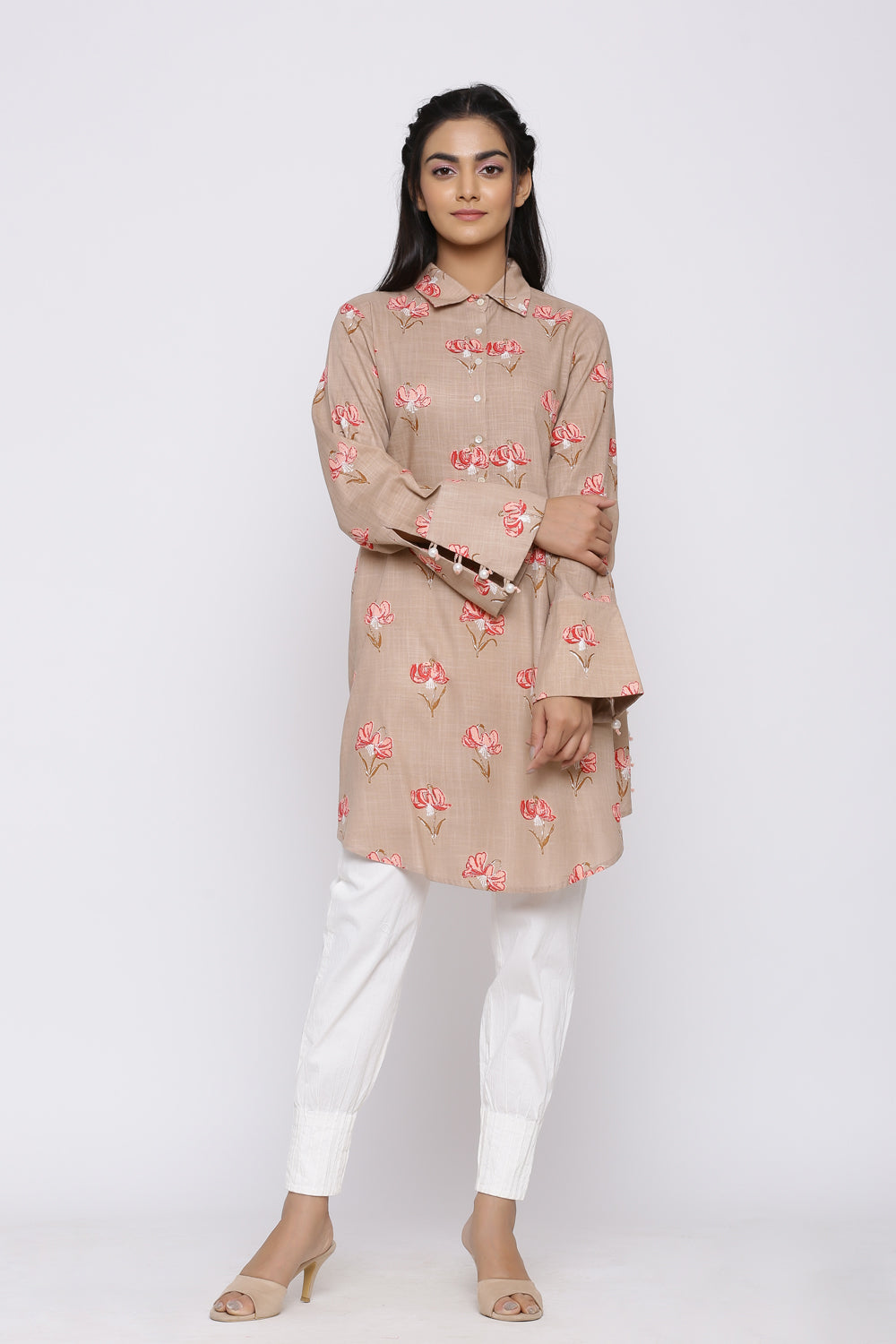 BEIGE PEARL DETAILING TUNIC WITH COTTON LYCRA PANT SET
