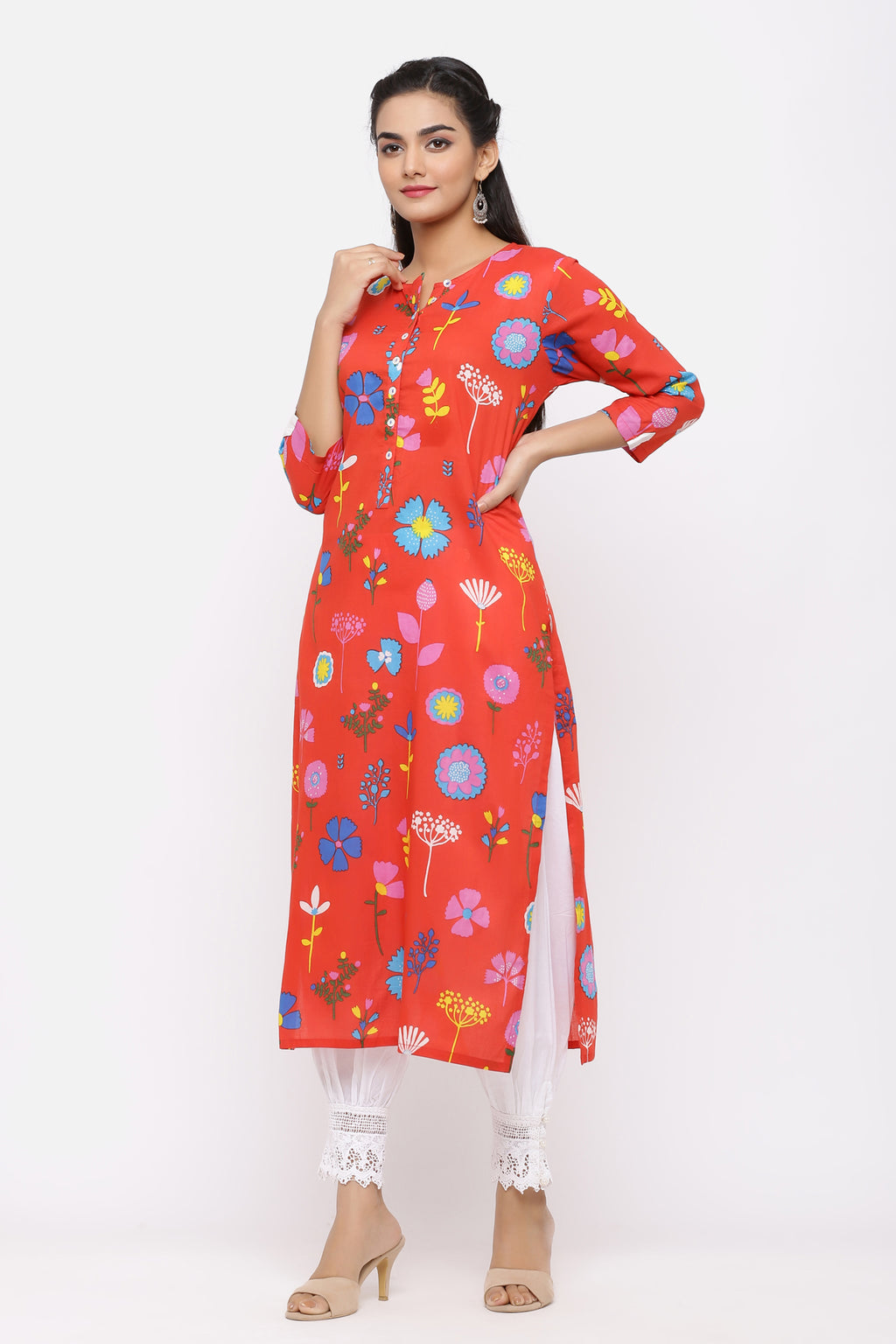 RED MULTI FLORAL COTTON KURTA