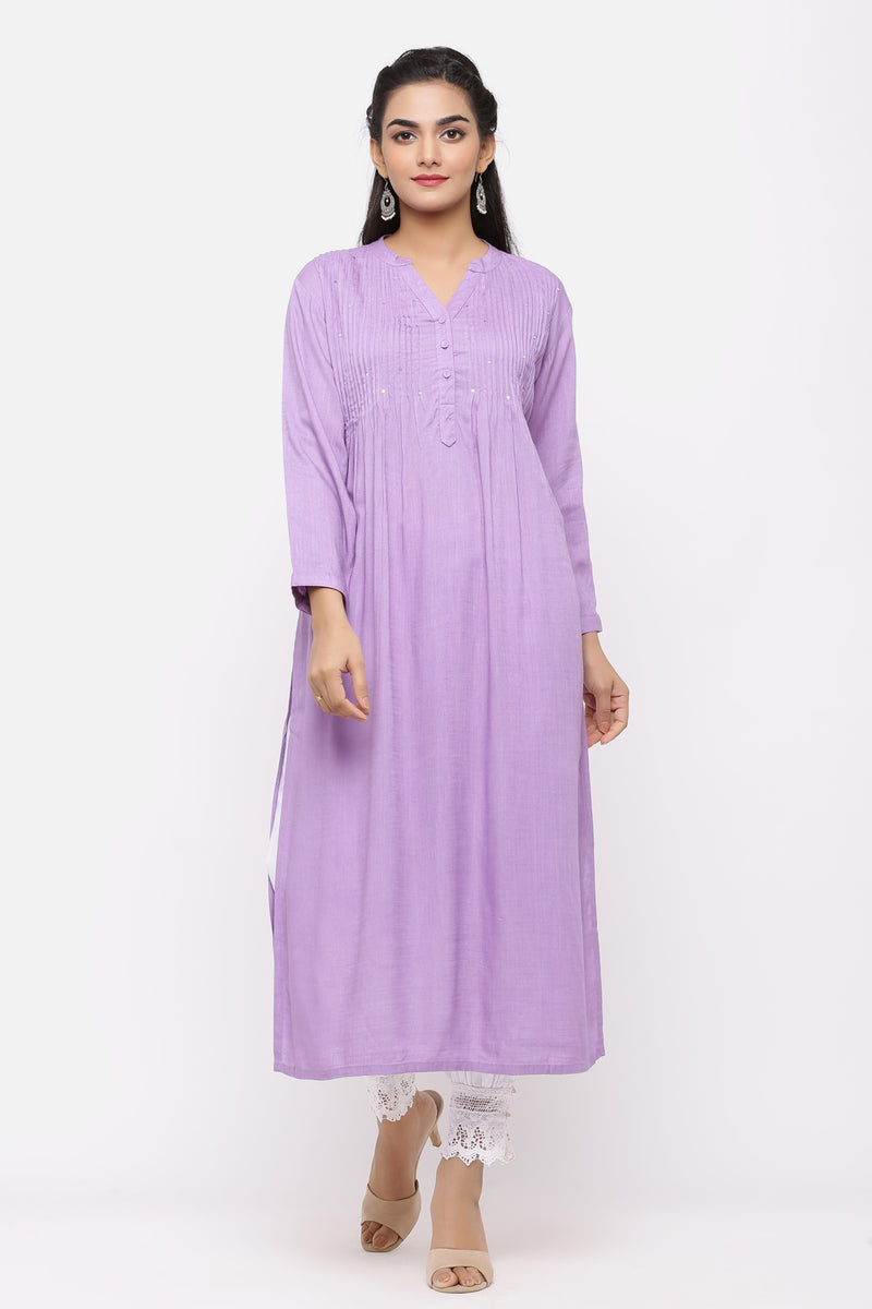 PURPLE COLOUR COTTON PINTUCKS KURTA