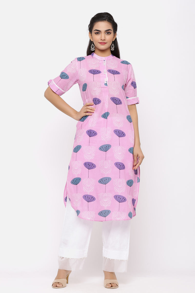 PURPLE COLOUR COTTON KURTA