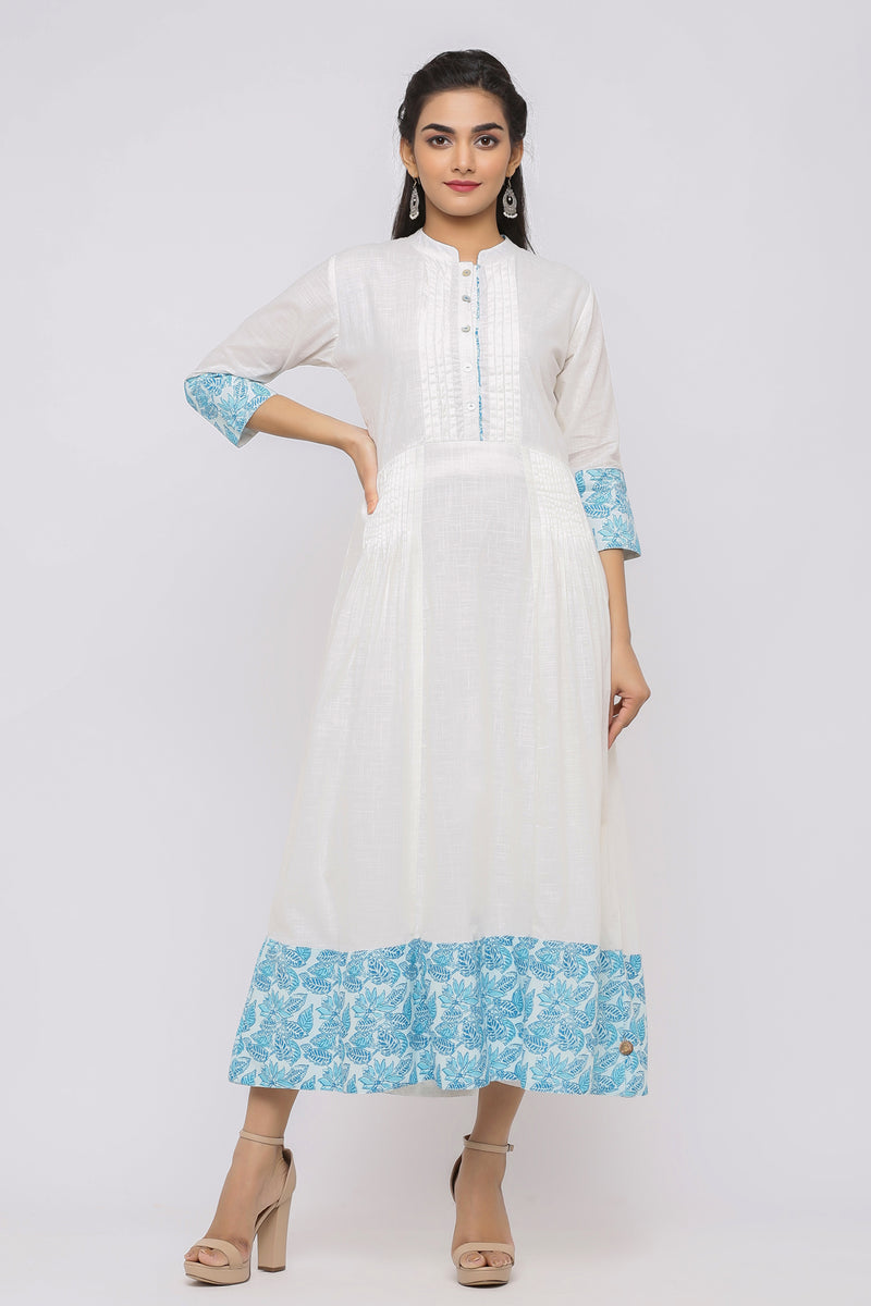 WHITE COTTON DRESS WITH PRINTED BOTTOM