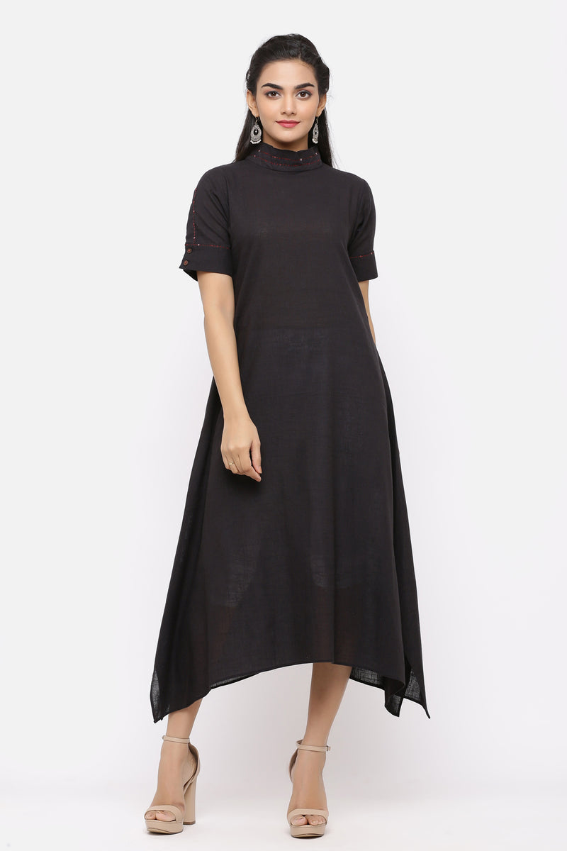 BLACK ASYMMETRICAL DRESS WITH SEQUENCE DETAILING