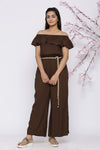 BROWN OFF SHOULDER JUMPSUIT