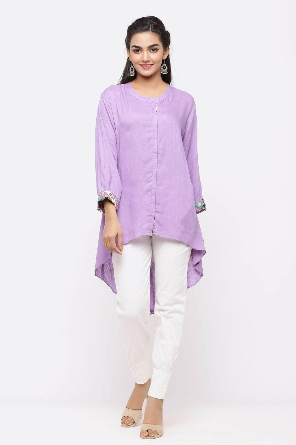 PURPLE COTTON BACK LONG TUNIC