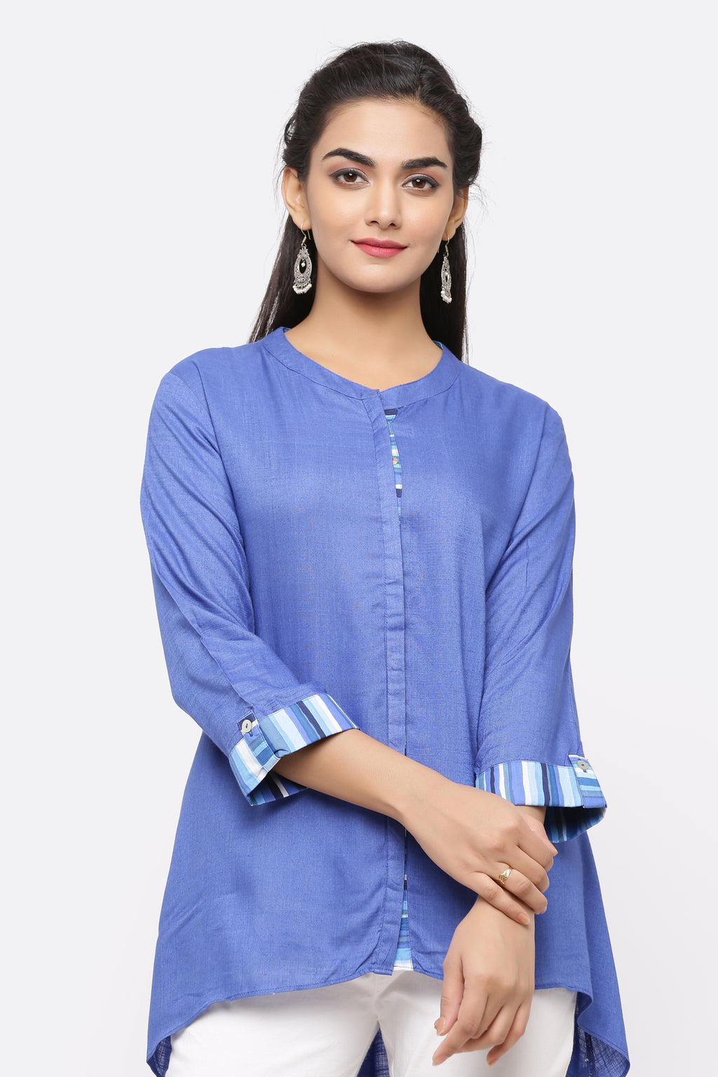 BLUE COTTON BACK LONG TUNIC