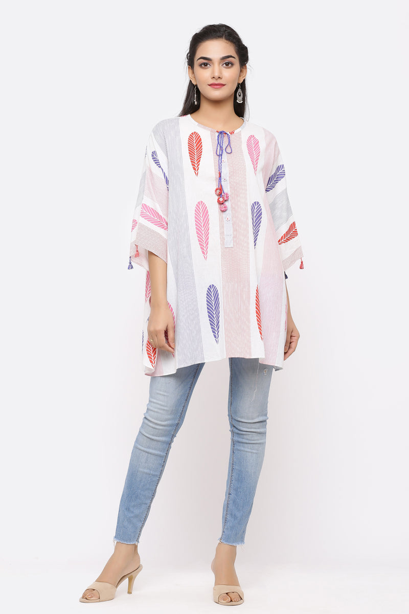 LEAF PRINTED SHORT COTTON KAFTAN