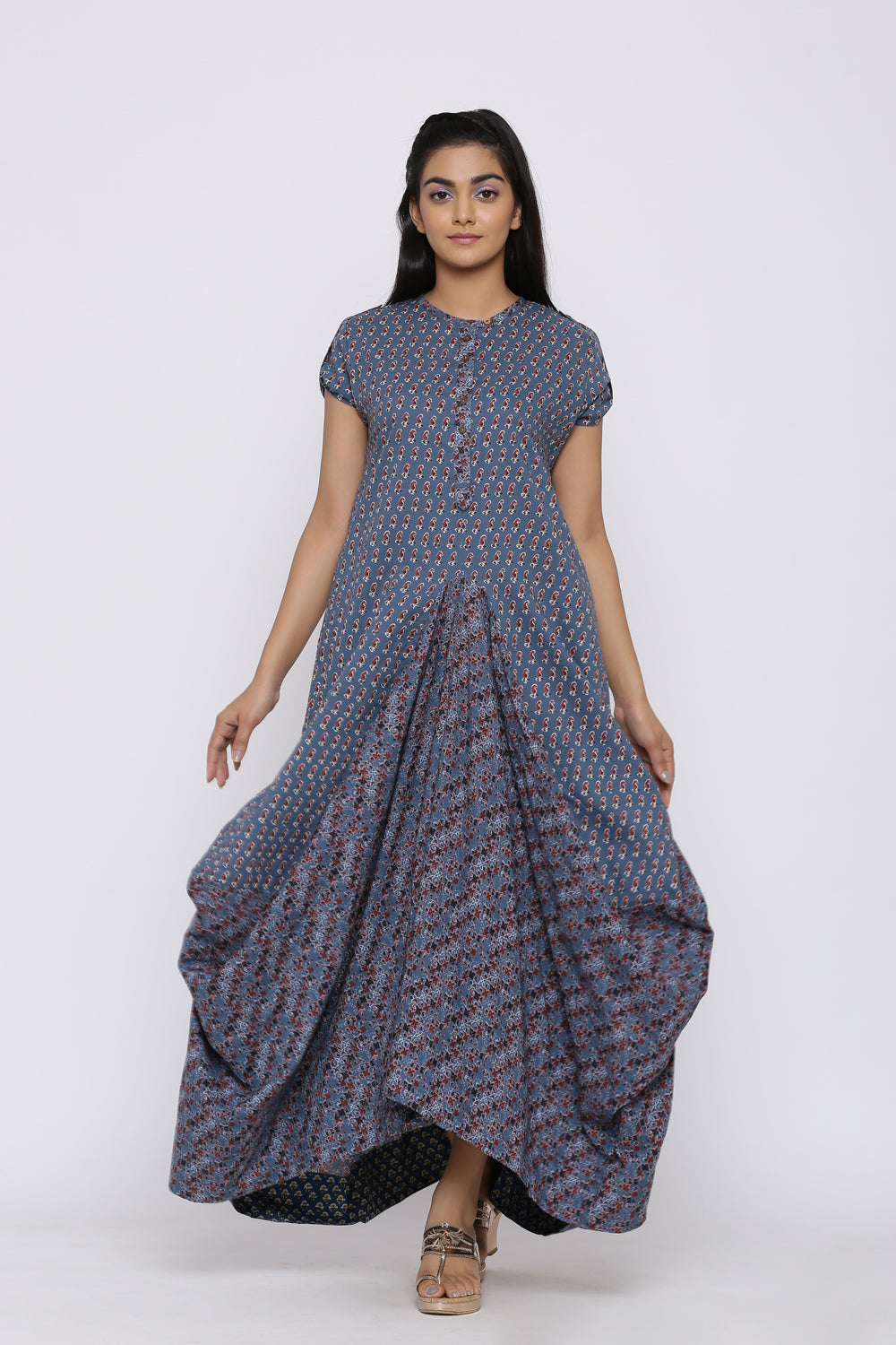 AJRAK PRINTED COWL DRESS