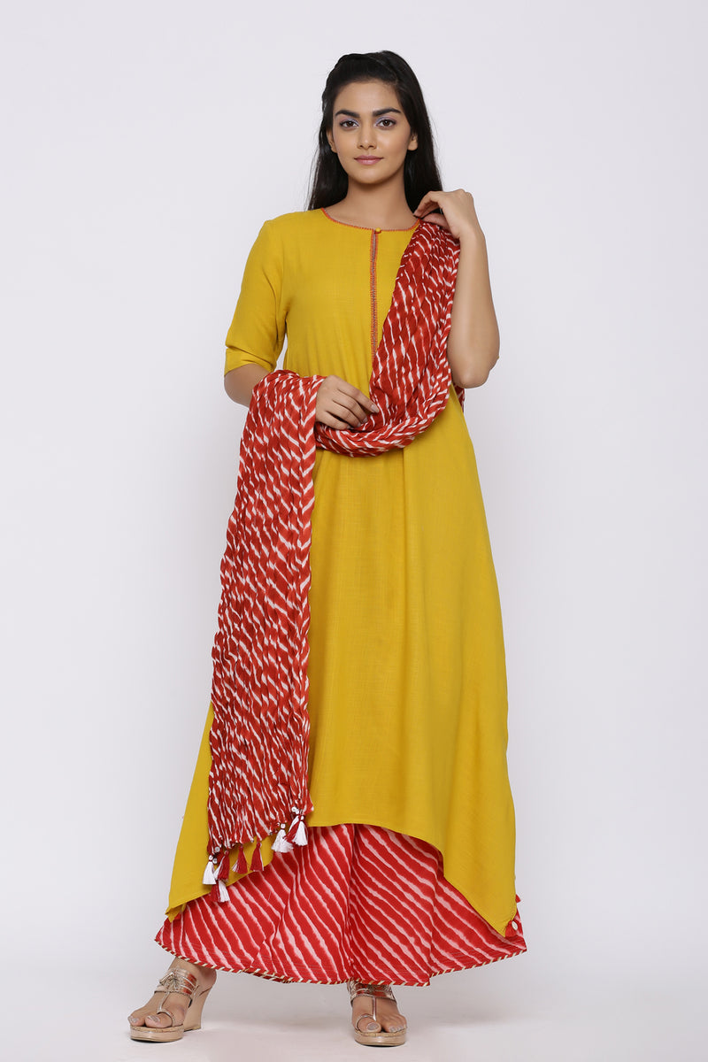 YELLOW COTTON ASYMMETRICAL KURTA