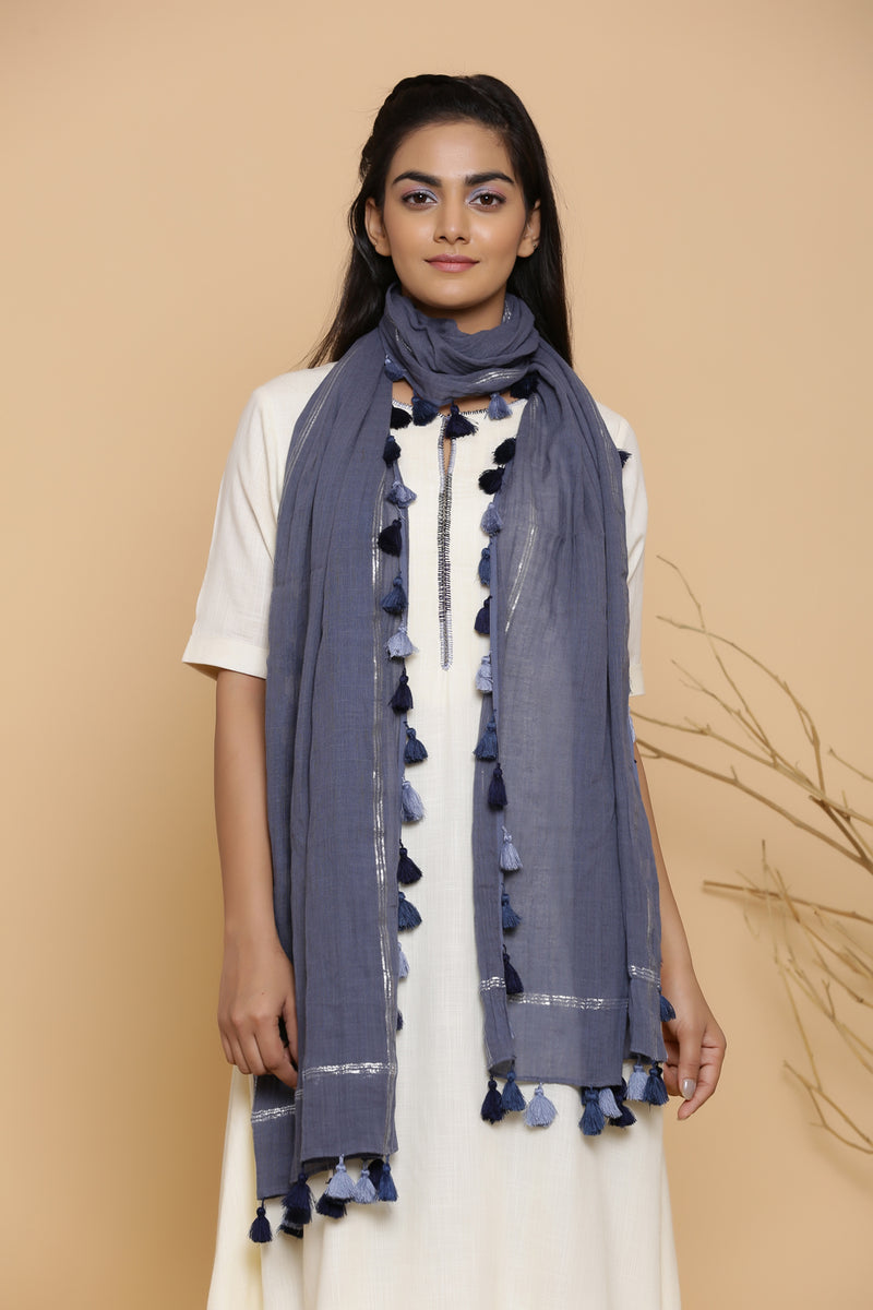 BLUE LUREX FUNDA DUPATTA