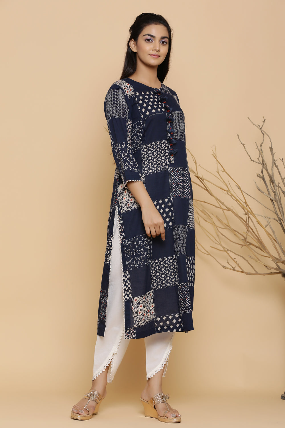 BLUE COTTON PRINTED STRAIGHT KURTA